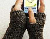 Sale Crochet Wrist Warmer - Fingerless Gloves - Mittens Arm Warmers - Dark Brown, Chocolate