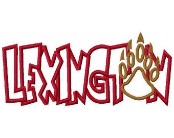 Lexington with Bear Paw Print Digital Embroidery Machine Applique Design 10629