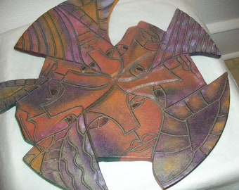 Early Nora Pineda - Hand Built, Sculptured, Carved, Acrylics and Oils Abstract Ceramic Art Plate