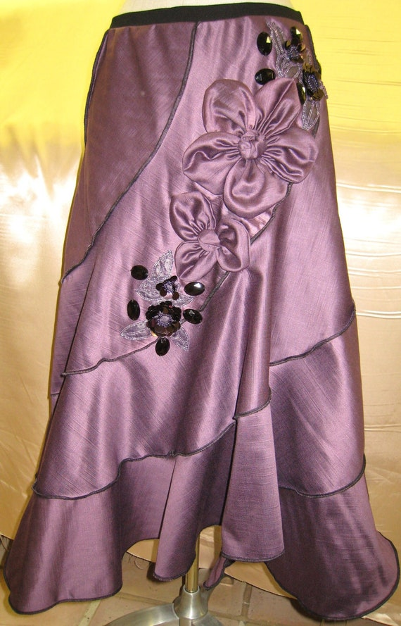 Limited edition 1 in the world Purple color skirt with roses and sequined embroidery floral decoration and plus made in USA (v27)