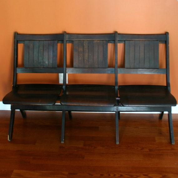 Chairs. Movie Theater Chairs. Church Pew. Wood. Folding Cinema Seats. Fall Autumn Rustic Home Decor. Modern. Entryway. Bench. thebestvintage