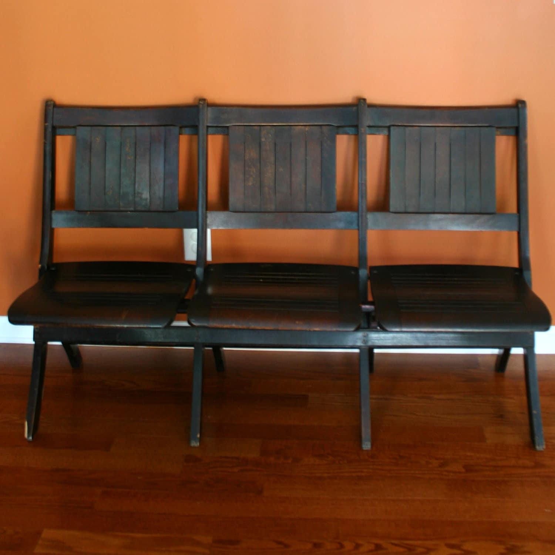 Folding Foyer Bench : Chairs movie theater church pew wood folding cinema