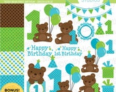 Teddy Bears First Birthday - Blue & Green - Clip Art - Digital Elements Commercial use for Cards, Stationery and Paper Crafts and Products