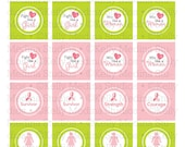 Breast Cancer Awareness Pink Ribbon - 1.5 inch Circle Digital Sheet - Commercial use for Cupcake Toppers, Magnets, Paper Crafts and Products