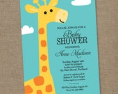 Animal Giraffe Baby Shower - Aqua and Yellow - Printable Digital Invitation - Personal Use Only