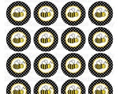 Bumble Bee - Black - 1.5 inch Circle Digital Printable Sheet - Commercial use for Cupcake Toppers, Magnets, Paper Crafts and Products