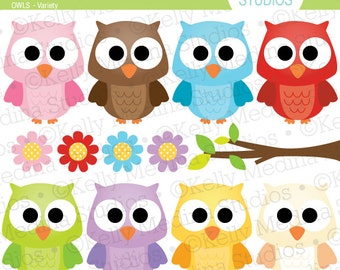 Cute Owls Variety - Clip Art Set Digital Elements for Cards, Stationery and Paper Crafts and Products