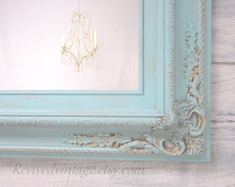 "FRENCH COUNTRY MIRROR For Sale Home Decor Baroque Mirror 31""x27"" Teal Blue Seafoam Blue Unique Ornate Shabby Chick Framed Vanity Mirror"