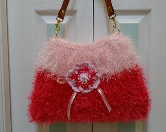 HANDBAG/PURSE, KNIT: Crossover,  Shoulder style, Lt pink and hot pink fun fur, hand knitted, with leather straps and beaded applique