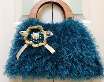 KNIT HANDBAG/PURSE: Turquoise / Teal, Large,   handknitted in fun fur and worsted yarn, brown  wooden  handles