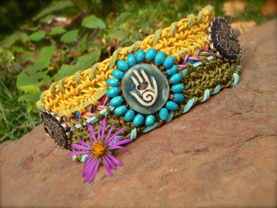 SPIRAL healing HAND cuff Cotton BRACELET tribal cuff Friendship bracelet crochet cuff statement bracelet nomad hippie hand made jewelry