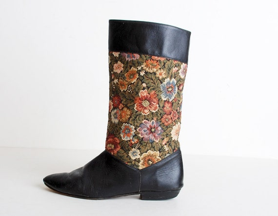 Size 9 Vintage 80s Black Leather Floral Tapestry Pirate Boots 40