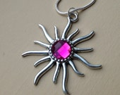 Sun Pendant with a Hot Pink Center