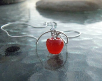 Sterling Silver Red Apple Pendant - An Apple for the Teacher, cats eye Apple, teacher gift