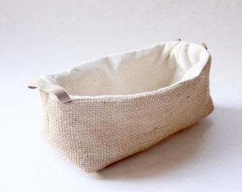 Jute Fabric Basket with Handles - Small / Organizer / Bin / Storage