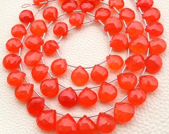 Brand New GIANT Size, Rare Fanta, 10 Inches Strand, Rare Fanta Chalcedony Faceted HEART Briolettes, 10-14mm Long size,GORGEOUS.