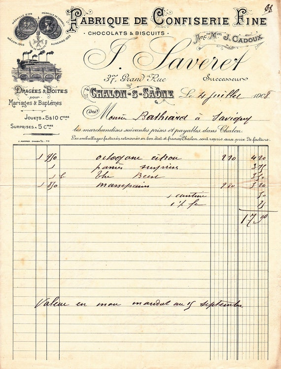 CHOCOLATE Factory invoice HANDWRITTEN French 1908