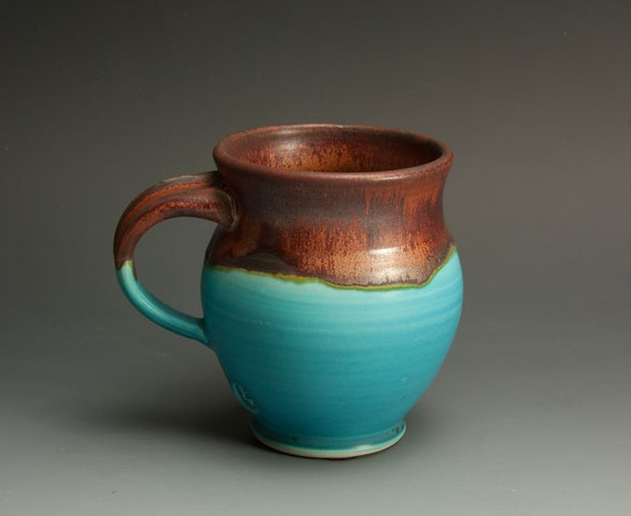 Porcelain handcrafted coffee mug or tea cup turquoise - lg - 655