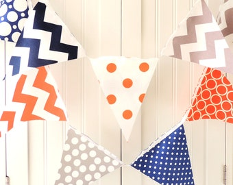 Banner, Bunting, Fabric Pennant Flags, Orange, Grey, Navy, Chevron, Polka Dot, Circles, Baby Boy Nursery Decor, Wedding, Birthday Garland