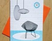 Handmade Letterpress Light & Shadow Card in Turquoise