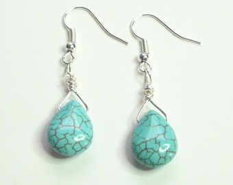 Turquoise Howlite Briolette Silver Handmade Wire Wrapped Earrings