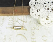 cast a side long GLANCE vintage brass wrapped crystal necklace (gold)