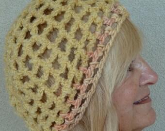 Bohemian Accessories / Yellow Crochet Hat/ Unique Winter Accessories