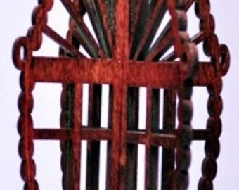 3-D Wood Rosary Cross Ornament