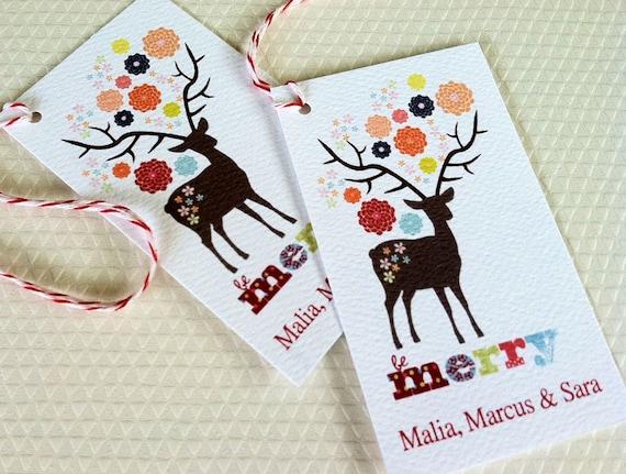 ... Gift Tags, Holiday Tags, Christmas Tags, Reindeer Tags, Set of 20