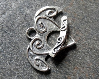 Sterling Silver Clasp Toggle Clasp Whimsical Flying Heart 17mm Artisan Made