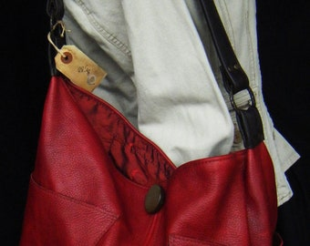 Hannah Versi Bag MADE TO ORDER Luna Jaze handmade Red Oiled Leather hobo bag