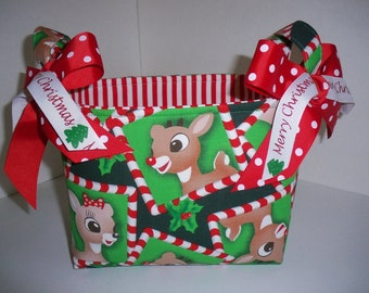 Rudolph The Red Nose Reindeer and Clarice Fabric Basket /  Organizer Bin / Gift Bag