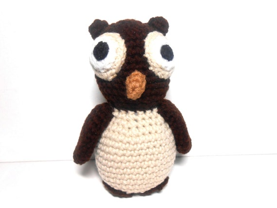 Owl Brown and Beige Hand Crocheted