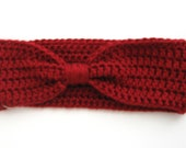 Women's Wine Red Crochet Bow Headband Earwarmer Ready to Ship