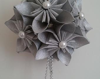 3d origami kusudama ornament SILVER