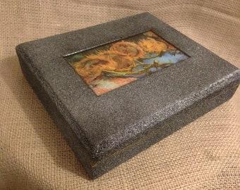 Upcycled Van Gogh Sunflower Jewelry Box