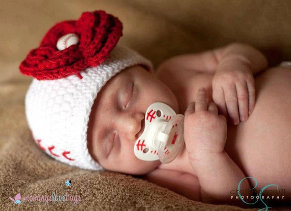 Play Ball Crochet Baseball Girl Beanie with removable Baseball Flower Hair Clip - Newborn through 4T Sizes Available