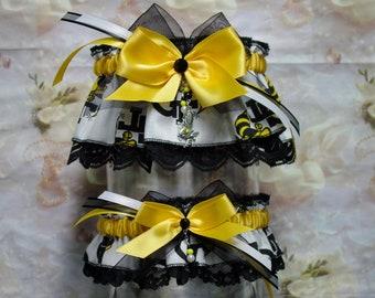 Georgia Tech Yellow Jackets Black and Yellow Wedding Garter Set