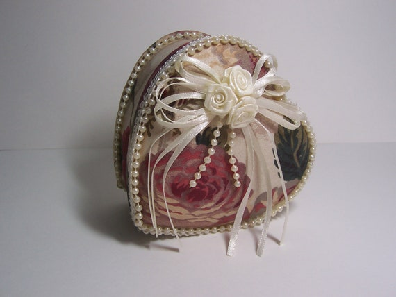 Heart Fabric Box Roses Floral Jewelry Trinket Victorian Accent