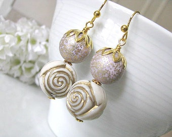 Vintage Lavender Cream Ivory Gold Rose Beads Earrings - Gift For Her, Bridesmaid Earrings