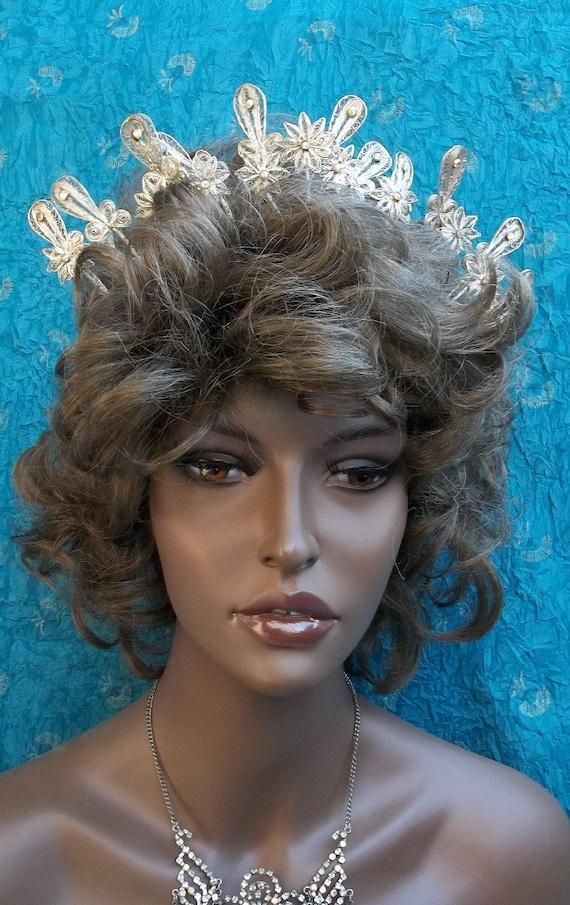 Vintage tiara crown Indonesia wedding crown hair accessory head piece
