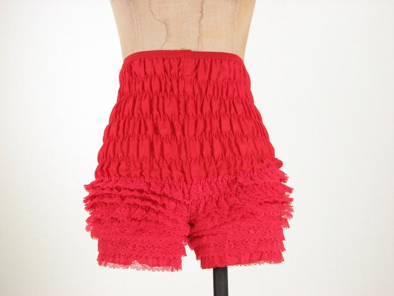 60s Red Ruffle Pantaloon Can Can Bow Peep Lace Square Dance Bloomer Shorts XS Small