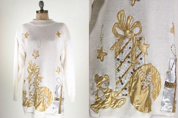 80s White Gold Holiday Gift Christmas Sweater Medium