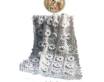Christening Blanket Afghan Pattern for Crochet - Vintage Roses - PDF Instant Download - PrettyPatternsPlease