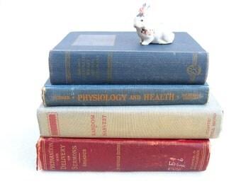 vintage book set.medical.theological.set.instant.bundle.blue.red.orange.gray.tessiemay