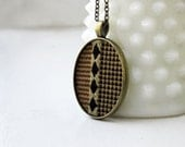 Art Deco Jewelry, Fall Fashion Triangles and Diamonds, Unisex Jewelry Brown, Gold, Black Stripes, Geometric Jewelry Womens Pendant