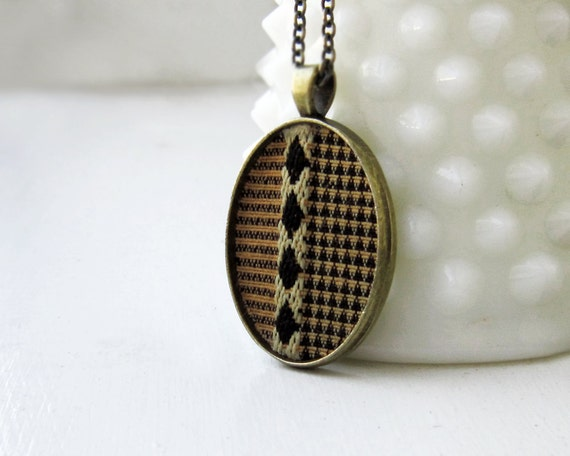 Art Deco Jewelry, Fall Fashion Triangles and Diamonds, Unisex Jewelry Brown, Gold, Black Stripes, Geometric Jewelry Womens Pendant
