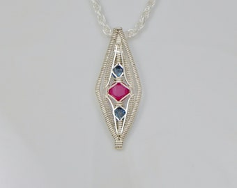 Ruby and London Blue Topaz Diamond's Eye Argentium Sterling Silver Wire Wrap Pendant