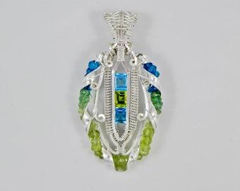 Swiss Blue Topaz, Peridot, Apatite and Tsavorite Garnet Argentium Sterling Silver Wire Wrap Helix Pendant