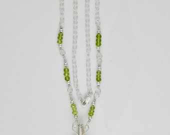 Peridot Sterling Argentium Silver Wire Wrap Necklace